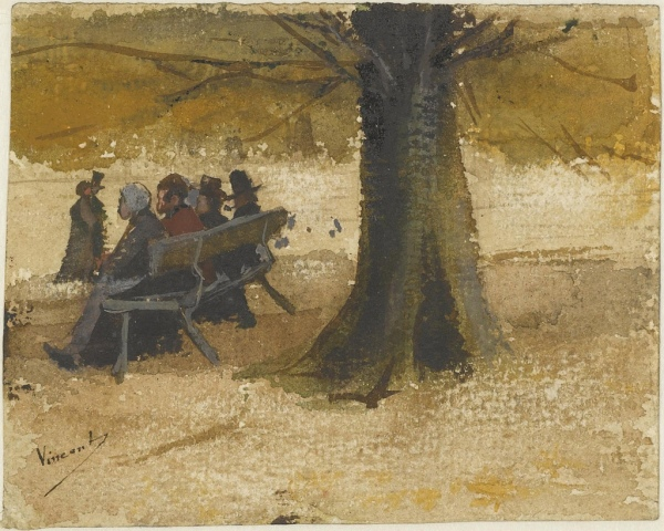 Four people on a bench - To Theo from The Hague September 1882